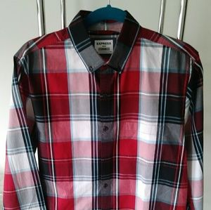 Express fitted mens shirt size M red black white